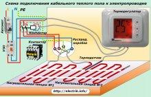 Схема підключення кабельного теплої підлоги до електропроводки